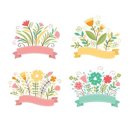 bouquet fleur: Ensemble de bouquets de fleurs, la composition romantique, vecteur de collecte