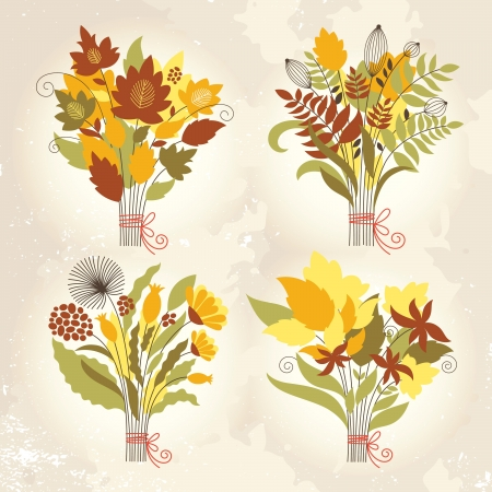 set of an autumnal bouquets Vector