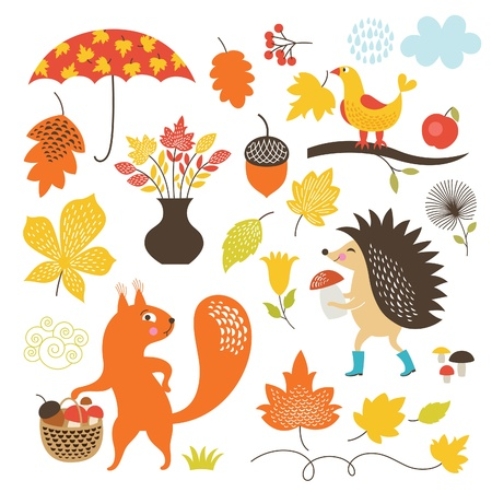 umbrella month: set of cartoon characters and autumn elements