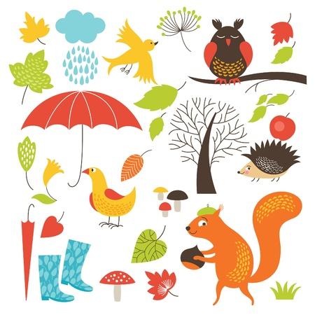 一連の漫画のキャラクターと秋の要素