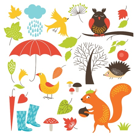 squirrel isolated: set of cartoon characters and autumn elements