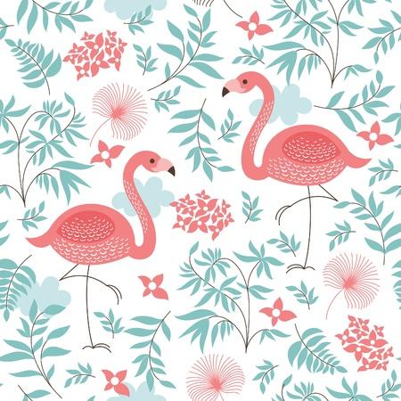 핑크 플라밍고와 원활한 패턴
