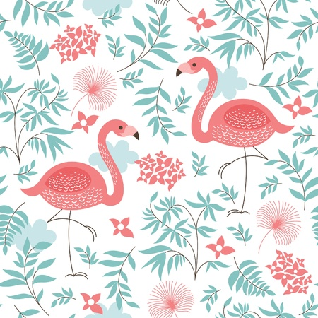 nature pattern: seamless pattern with a pink flamingo Illustration