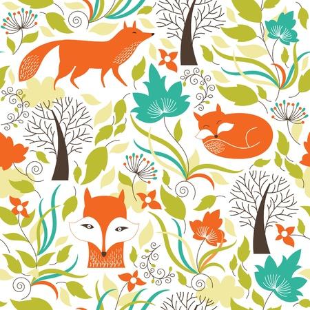 animales del bosque: Patrón sin fisuras con unas zorras Vectores