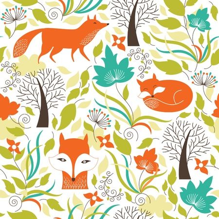 volpe cartoon: Seamless pattern con le volpi