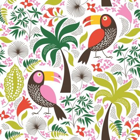 エキゾチックな鳥とのシームレスな花の背景