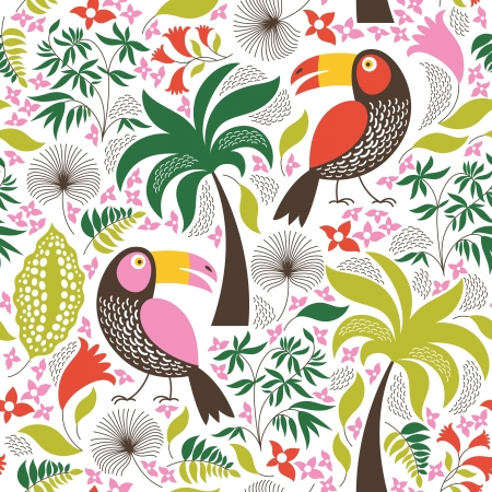 seamless floral background with an exotic birds Vector