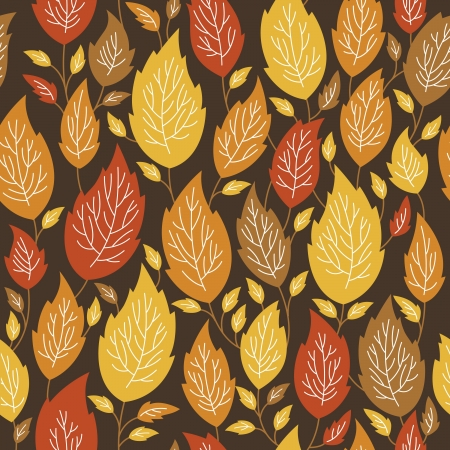 seamless autumn pattern with a color leaves 向量圖像