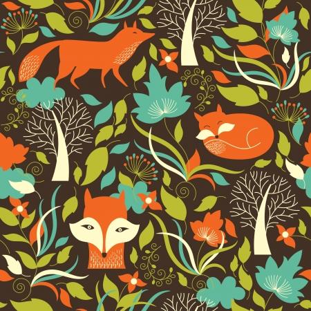 dieren: Naadloos patroon met een vos
