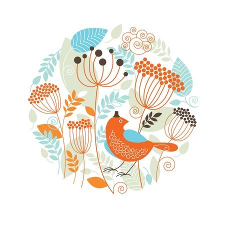 природа: Цветочный рисунок с птицами Иллюстрация