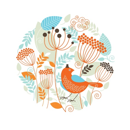 green swirl: Floral illustration with the birds