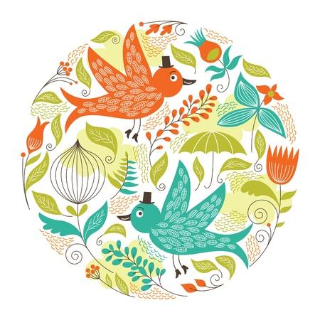 florale: Floral Illustration mit den Vögeln