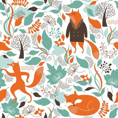 animals: Patrón sin fisuras con el zorro lindo
