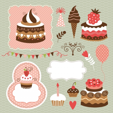 birthday cupcake: Birthday set, cute cakes
