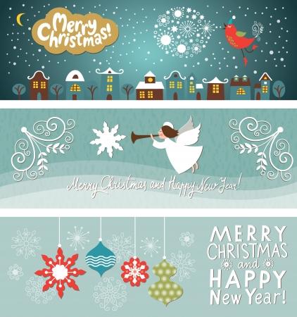 christmas bird: set of Christmas and New Year s banners