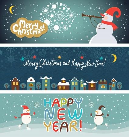 niños con pancarta: conjunto de Navidad y Año Nuevo de banderas s Vectores