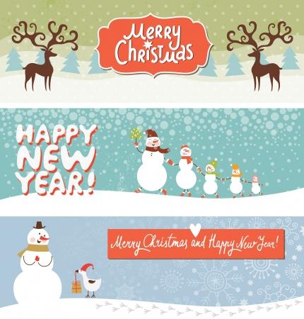 renos navide�os: Conjunto de Navidad y A�o Nuevo de banderas s Vectores