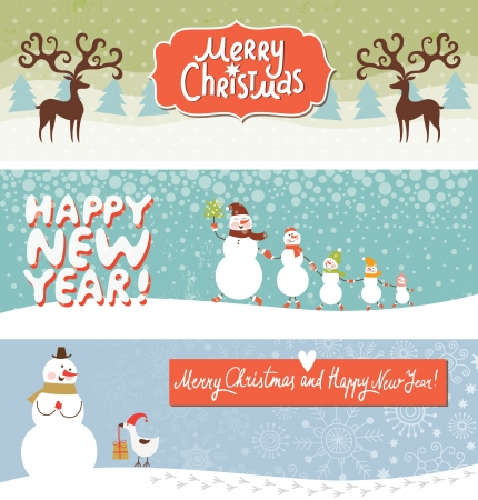 christmas tree set: Set of Christmas and New Year s banners