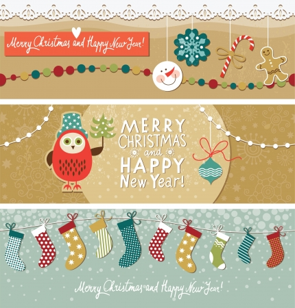 new year's: Christmas and New Year s banners Illustration