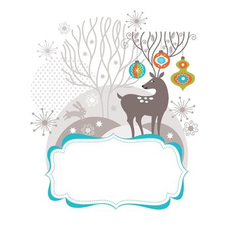 クリスマスと新年カード、クリスマスの鹿は面白い枝角を持つ