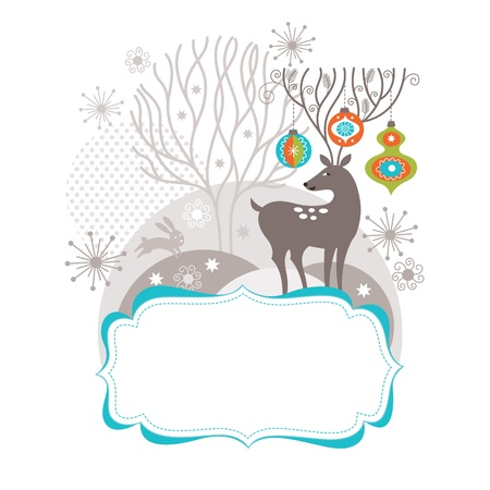 christmas snow: Christmas and New Year card, Christmas deer with amusing antler