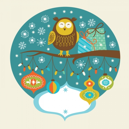 Cute Owl with gifts on a branch Vector