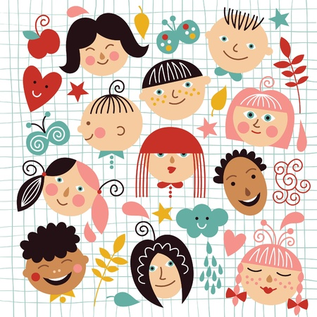 set of funny face of children Vector