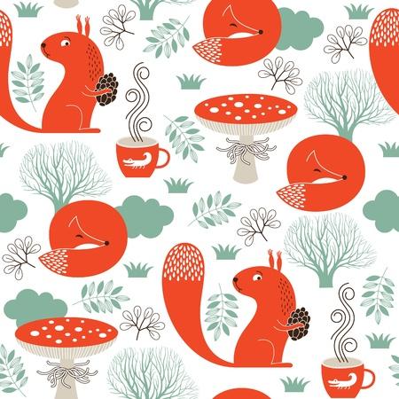 naadloze patroon met schattige dieren Stock Illustratie