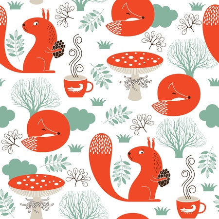 forest tea: seamless pattern with cute animals Illustration
