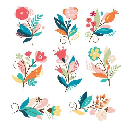 cobranza: Conjunto de ramos de flores de belleza Vectores