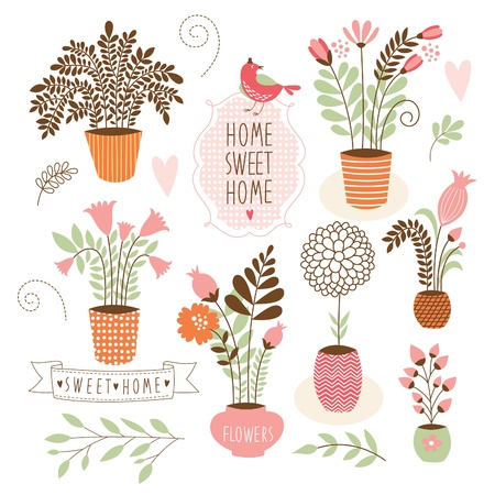 flowers in vase: Sweet home ,set of vector elements