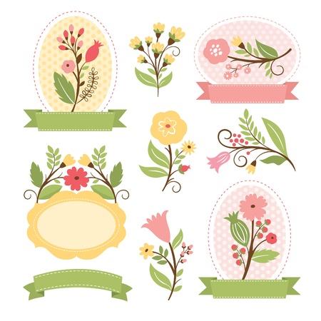 花の花束とロマンチックなフレーム、ベクトル コレクションのセット