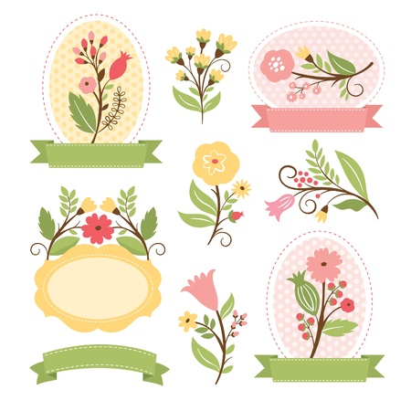Set of floral bouquets and romantic frames, vector collection Illustration