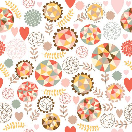 papel tapiz: Patrón sin fisuras con flores geométricas