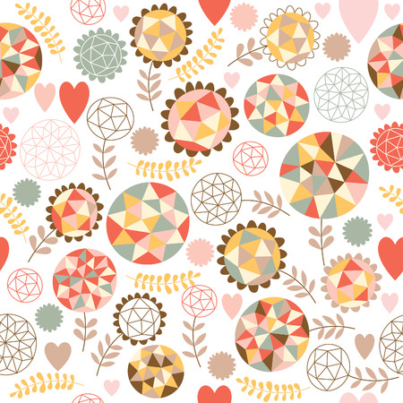 textiles: Seamless pattern with  geometric flowers