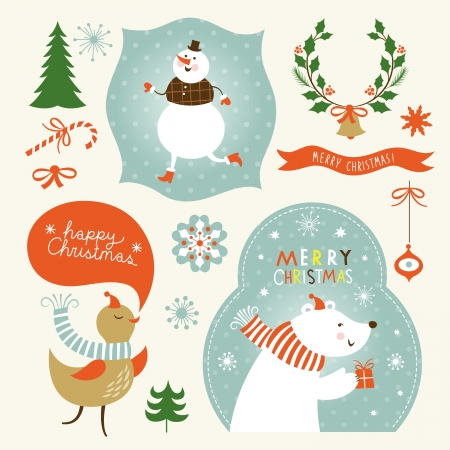 Set of Christmas and New Year s graphic elements Vector
