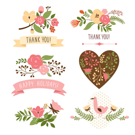 floral ornaments: floral bouquets and heart Illustration