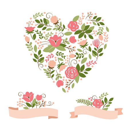 floral scroll: floral bouquets and heart Illustration