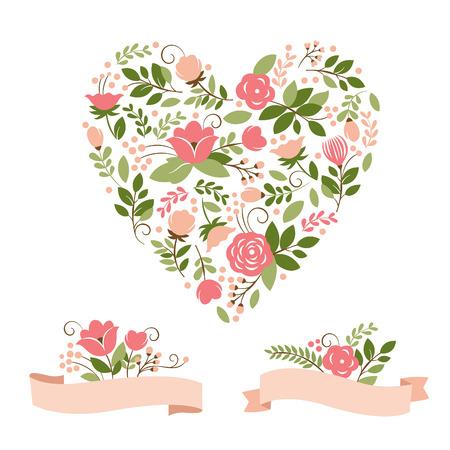 ramos de flores y el corazón Ilustración de vector