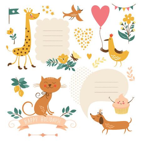 flores de cumpleaños: Conjunto de animales ilustraciones y elementos gráficos