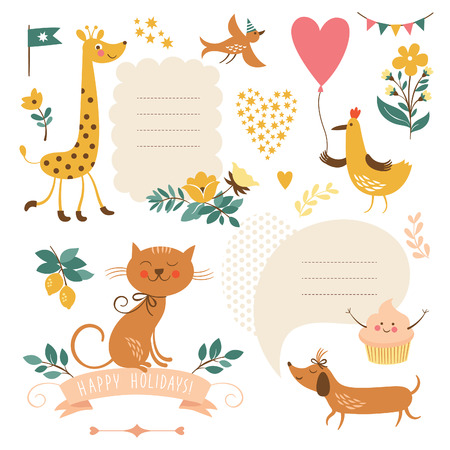 birthday flowers: Set of animals illustrations and graphic elements