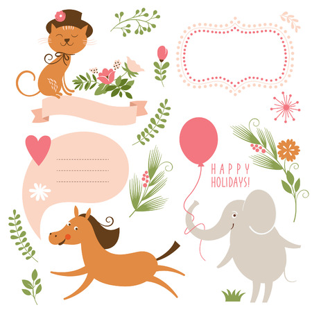 animal border: set of cartoon animals and graphic elements Illustration