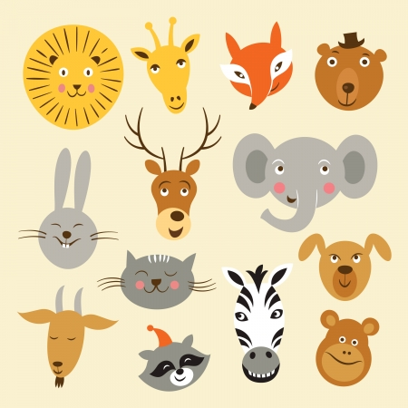 illustration zoo: Vector illustration of animal faces