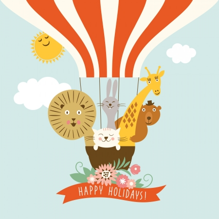 Funny friendly animals in a balloon Vector