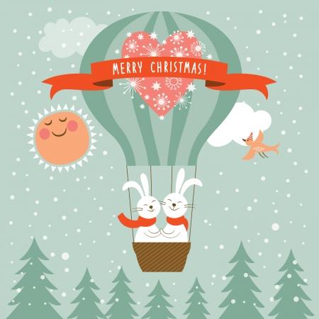 flying balloon: Vector new year rabbits flying a magic balloon