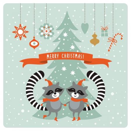 estrellas de navidad: Tarjeta de Navidad con dos mapaches Vectores