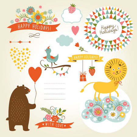 Set of animals illustrations and graphic elements for invitation cards Vector