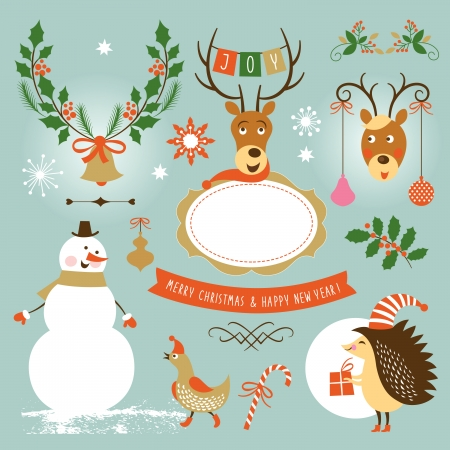 new year's: Set of Christmas and New Year s graphic elements