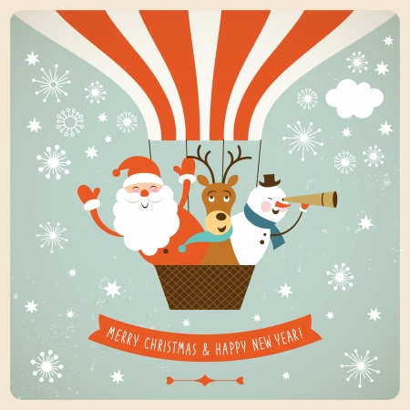 vendimia: Santa Claus, ciervos y muñeco de nieve volar un globo de aire caliente