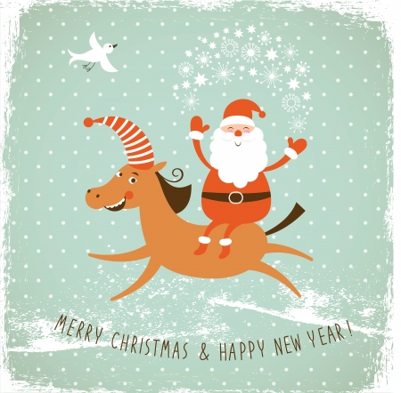 Christmas card, Santa on horse Stock Vector - 22504703
